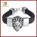 2017 Leather Wrap Cuff Bracelet,Men Stainless Steel Jewelry,Lion Head Bangle Bracelet