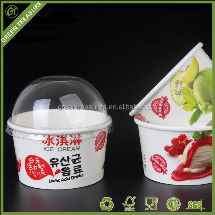 2016 Fresh Fruit 63x44x64mm Mini Cups Fashion Printed Fancy Quality Delicious Frozen Ice Cream Ball Paper Cup with Dome Lids