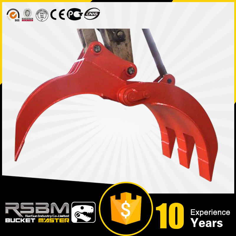 Manual and hydraulic heavy duty five fingers excavator grapple fit to 0.1t to 65t Excavator