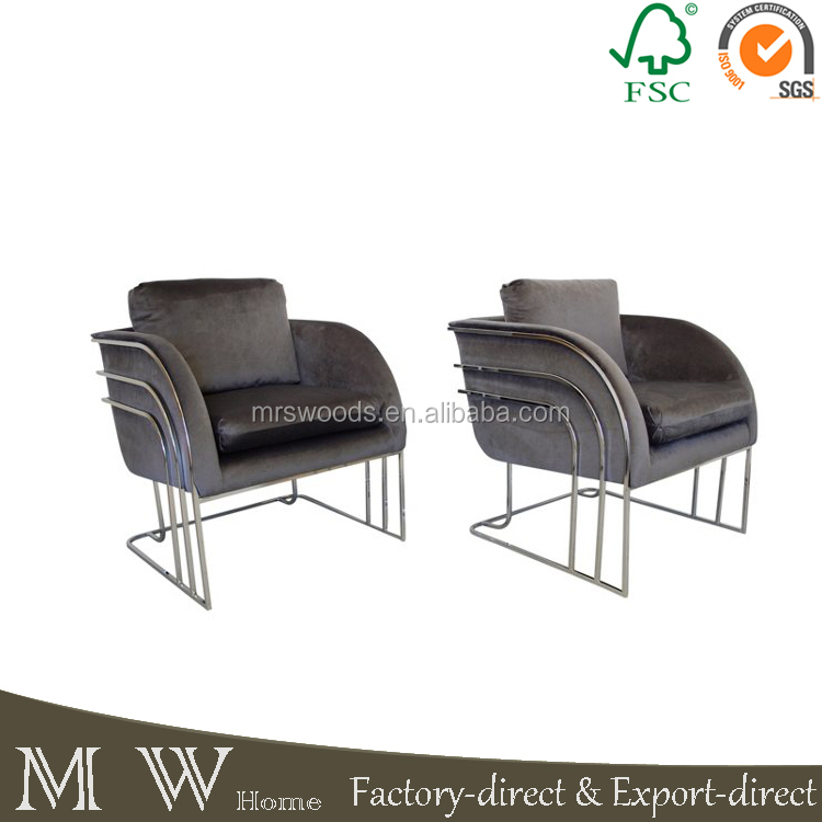 upholstered in deep steel gray velvet fabric club chair.