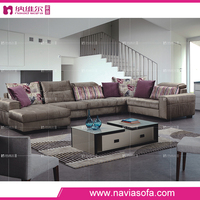 Home furniture brown color fabric modern new model sectional sofa sets pictures