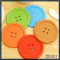 cheap price cute button design silicone cup mat eoc-friendly silicone drink coasters with logo for promotional gifts