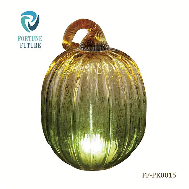 New design wholesale hot sale gold green low price wholesale glass craft artificial halloween pumpkin light for decoration