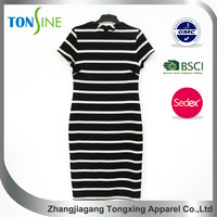 New design Close waist stripe dress for women