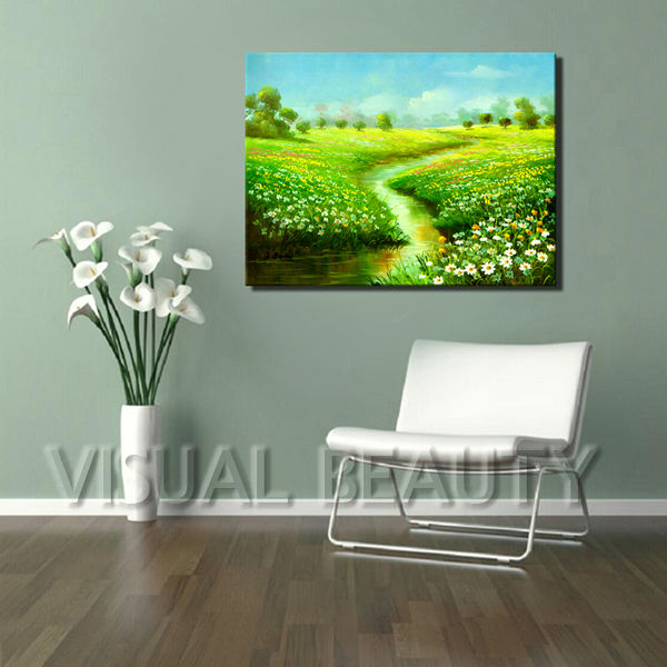 Village Scenery Painting on Canvas for home decor