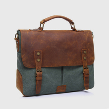 2016 MB0025 Leather Canvas Messenger Bag Laptop Bags Computer Bags