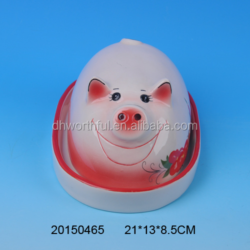 Lovely pig shape ceramic bread plate with lid
