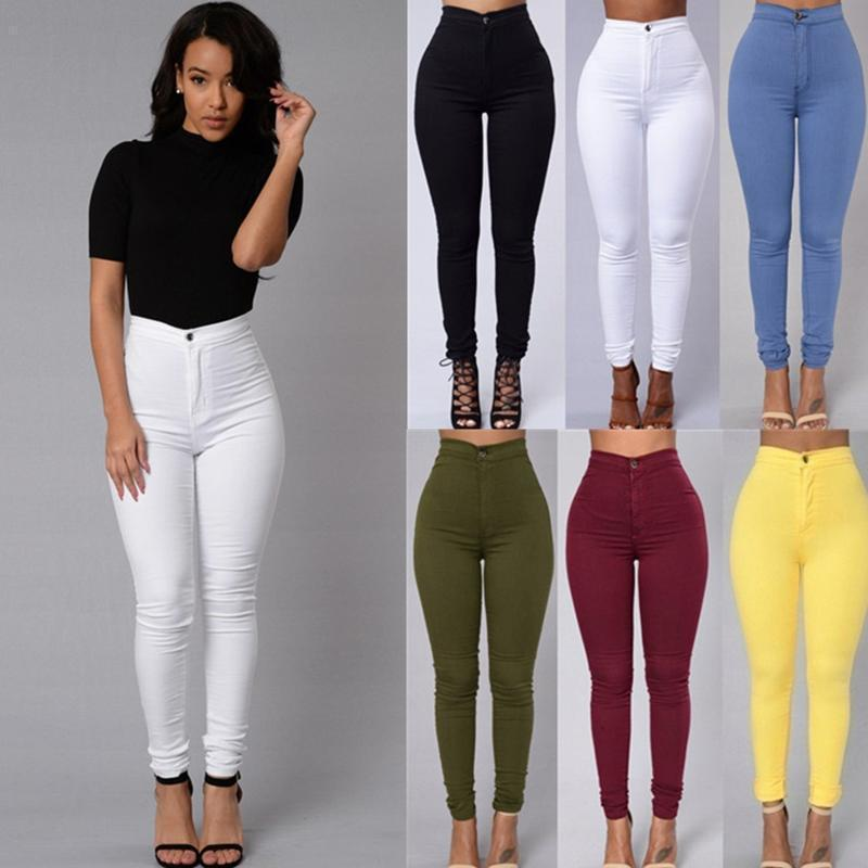 ZH0297A Ladies Denim Fit Stretch Pants Slim Skinny Colorful Cotton Fabric For Woman