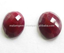Natural Dyed Ruby Oval Rose Cut Loose Gemstone