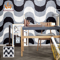 black and white pattern glass mosaic tile for wall decoration