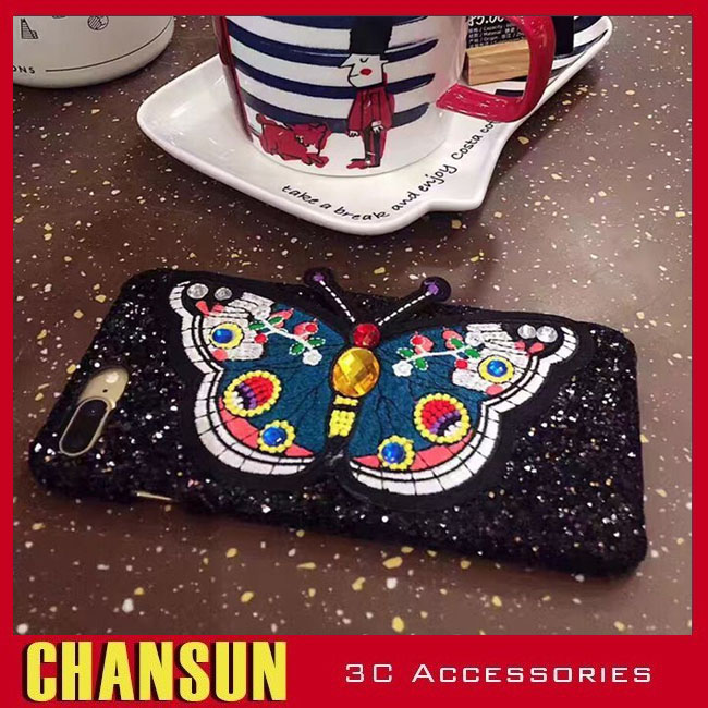 2017 New luxury embroidery butterfly PC hard Phone case for iphone 7