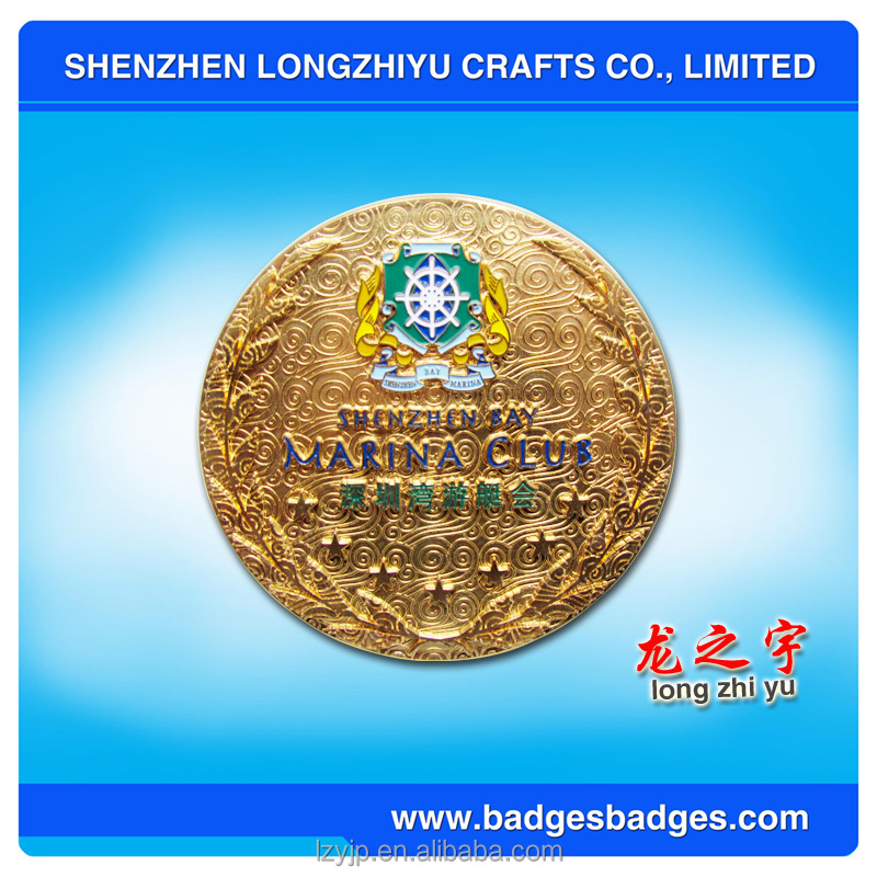 Shenzhen Bay Marina Club Gold Car Logo Metal Badge Souvenir Car Emblem