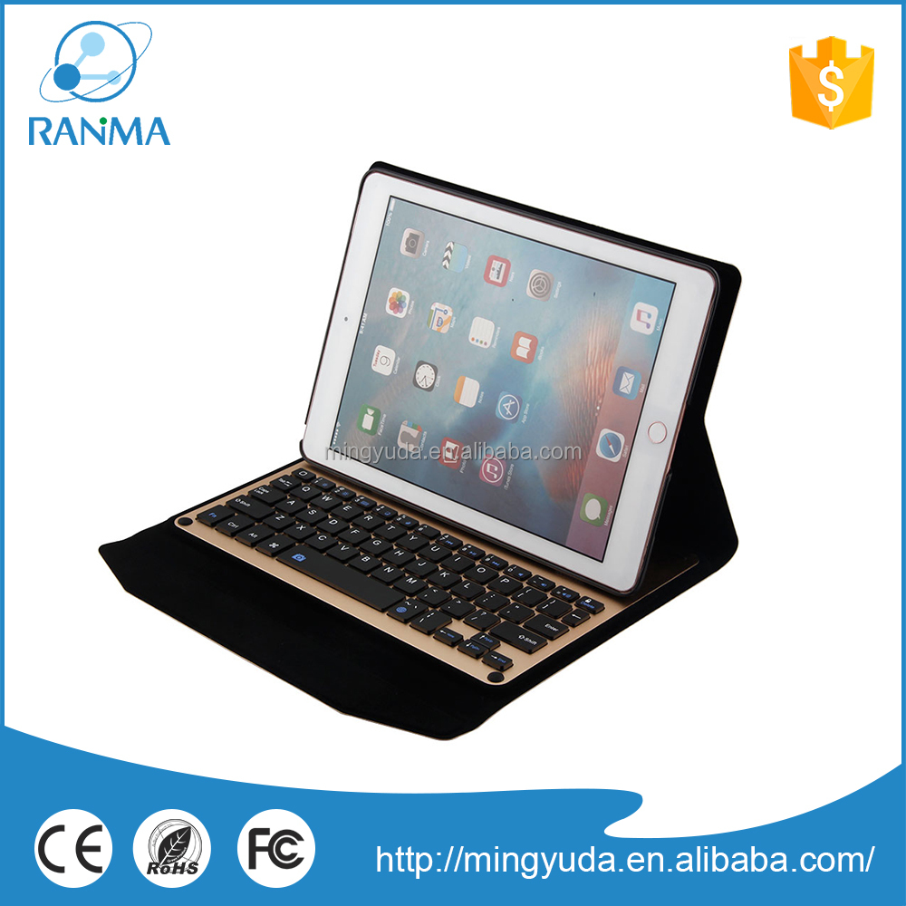 High Quality 9.7 inch Tablet aluminum bluetooth keyboard leather case for ipad pro