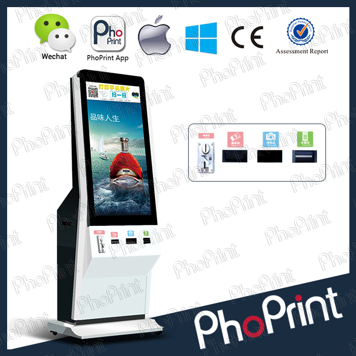 2016 Hot sell LCD advertising play and photo printer all in one machine/insta-gram photo kiosk/insta-gram print machine