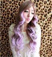 Fashion Synthetic Curly Wigs Full Hair With Middle Long Side Bangs Synthetic Hair Wigs Brown + purple
