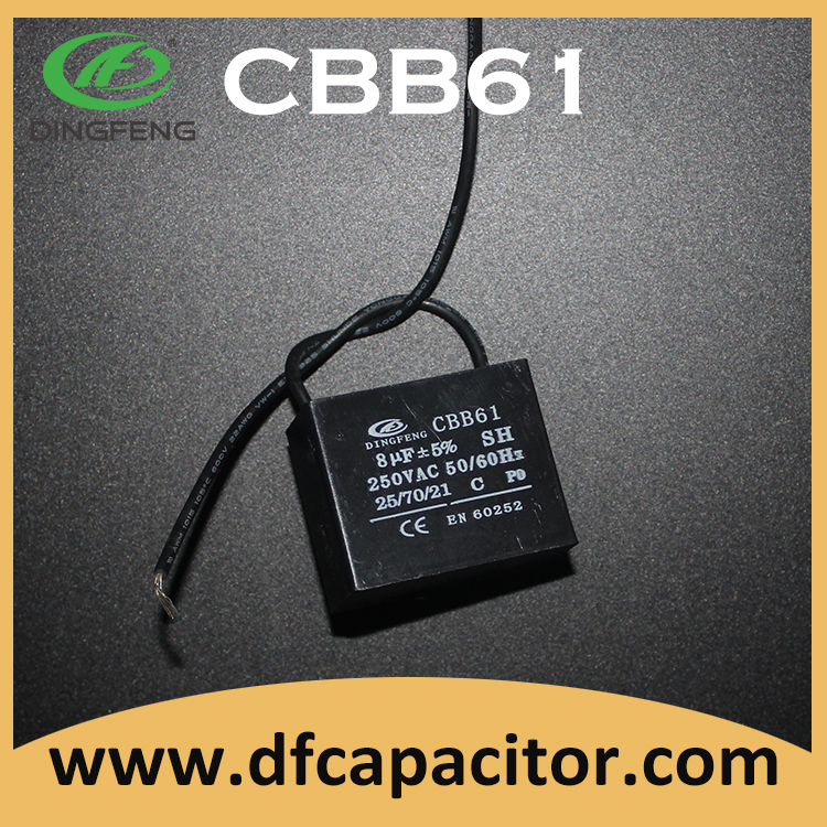 cbb61 ac motor capacitor 25 70 21 250vac 8uf with 2 wires sh