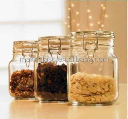 airtight glass spice/food/candy jar with clamp lid,glasswares