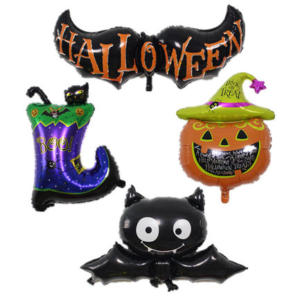 [partigos]4pcs pumpkin/boots/bat Halloween foil balloon decoration kids birthday party supplies air globo inflatable toys