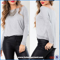 New Arrival Mature Women Wear Without Clothes Loose Grey Tops And Neck Design Of Blouse For Women