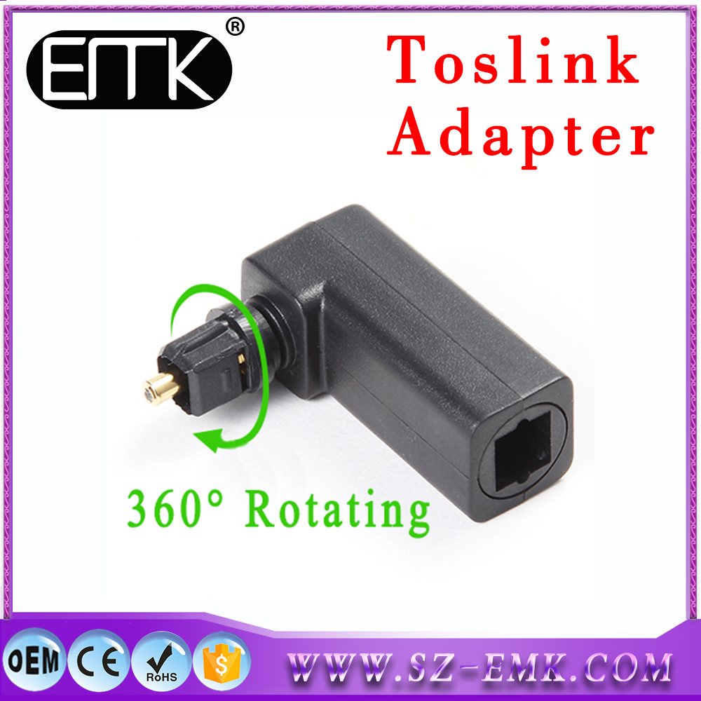 Toslink 90 Degree Male to Female Digital Optical Audio Cable Plug Adapter