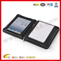 Zip-Close With A5 Notepad Space Leather Portfolio Case for iPad 4/3/2