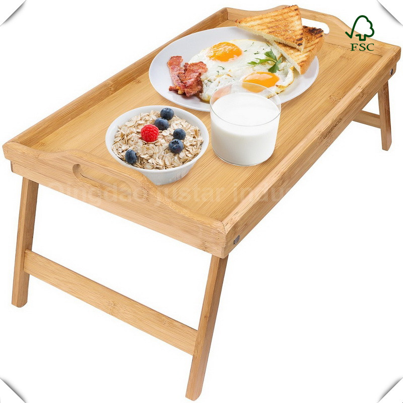 Natural Cheap Folding Stand Wooden Bamboo Serving Tray with Legs