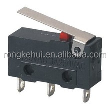 KW11-02 Red Button Metal Short Straight Hinge Lever Black Mini Micro Switch