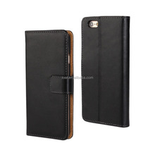 Black For Iphone 6 Genuine Smooth Split Leather Case