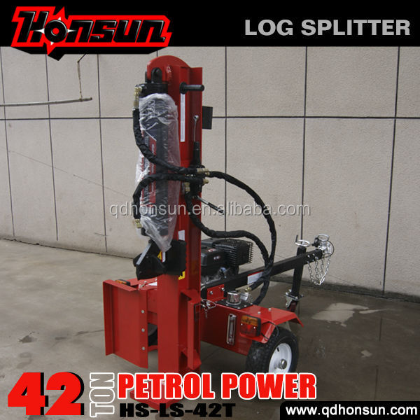 Germany Hanover Fair exhibited CE approved Honda engine 42 ton vertical horizontal manual hydraulic log splitter