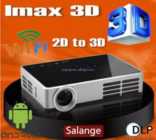 New 1280x800 mini LED lamp android 4.4 dlp active shutter 3D projector convert 2D to 3D beamer factory wholesale