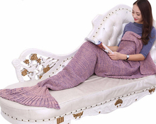 BeddingOutlet Mermaid Throw Blanket Handmade Mermaid Tail Blanket for Adult Kid Multi Colors 3 Sizes Soft Crochet Mermaid Blanke