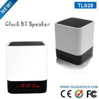 White mini desktop wireless soundbox with LED screen BT4.0 hands free multifunctional alarm clock bluetooth speaker