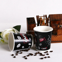 Custom logo Printed Disposable Paper Cup with Lid, double wall paper cups with lid