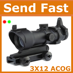 2016 3X12ACOG Red/Green Dot Sight Scope for Airsoft Hot Hunting Scope Outdoor Rifle Optical