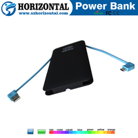 New creative products Built-in cable power bank 10000mah ,vivis power bank hippo 10000mah, power bank with cable