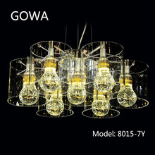 2015 Gowa modern design led crystal pandant light with glass cover model 8015-7Y