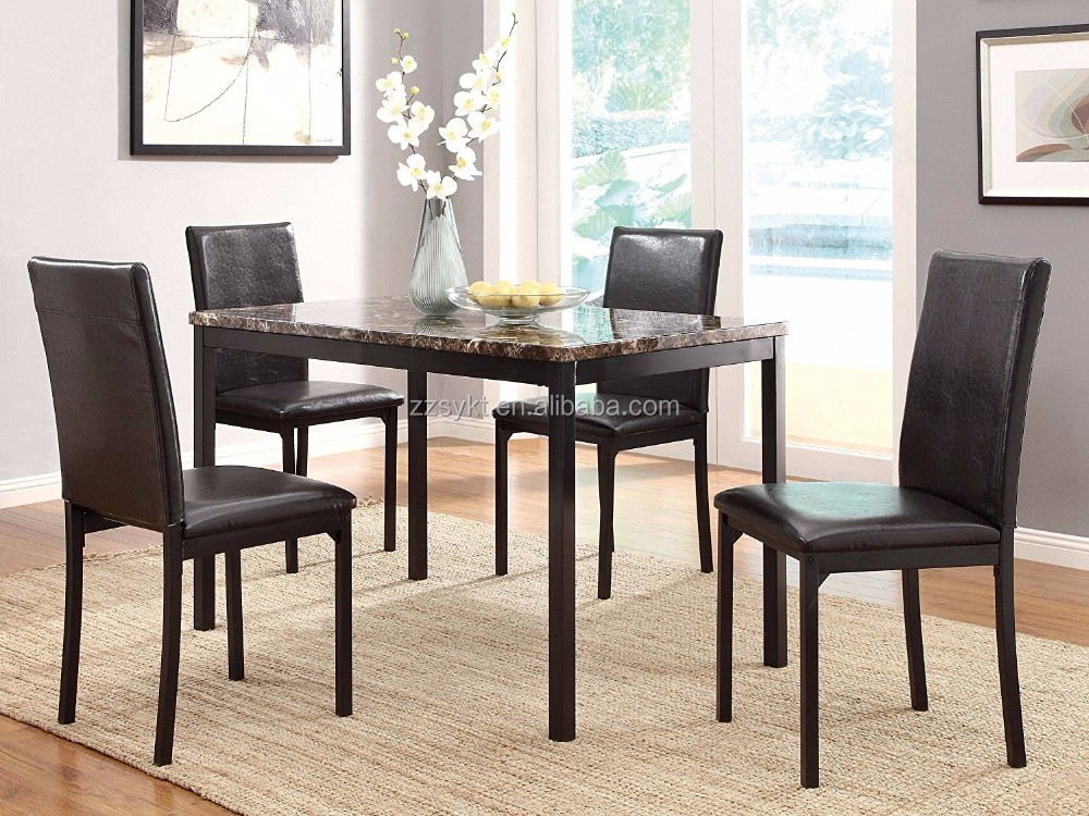 Faux marble top dinette sets restaurant bistro dining table 4 chairs sets manufacturer