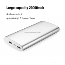 High capacity 20000mAh external portable mobile power bank supply with dual output ports for all smart phone