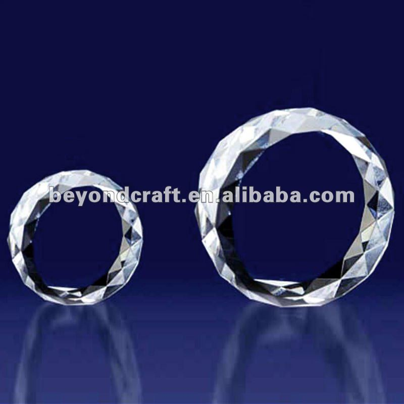 faceted big crystal blank paperweight as trophy souvenirs