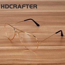 HDCRAFTER New Gold Frame Clear Aviator Glasses For Men Oversized Rayed Woman Driver Car Glasses Computer Glasses Optical