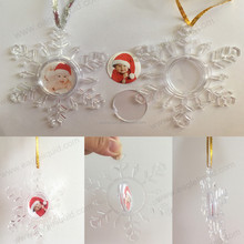 fillable snowflake shape clear plastic ball hanging xmas bauble