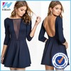 Yihao Trade Assurance 2015 Women Summer Sexy Solid Navy Contrast Mesh Yoke 3/4 Sleeve Backless Pleated Mini Dress