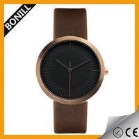 Fashion Minimalist Rose Gold Tone Brown Leather Simple Men Watch