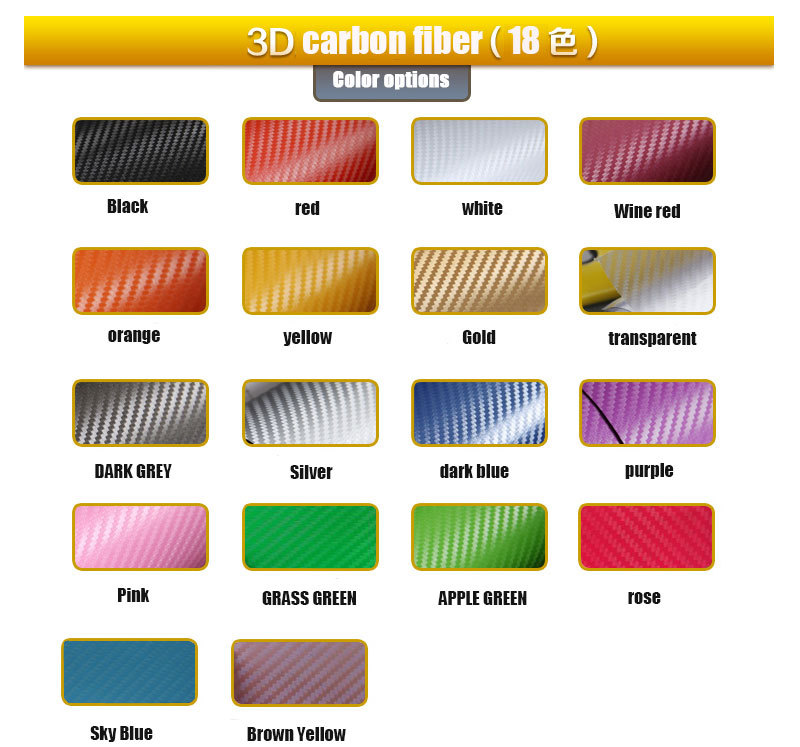 TSAUTOP 18 Colors 1.52*30m air free bubbles 3d car carbon vinyl