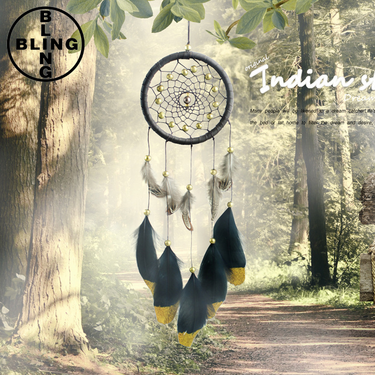 >>>Fashion Wind Chimes Indian Style Feather Leather Gold Dream Catcher for Home Decor Hanging Decoration Nice Gift