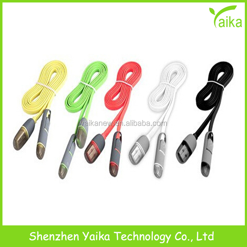 Yaika hot sale 2in 1 bullet color flat noodle usb charger <strong>cable</strong> for iphone and android