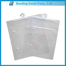China supplier customized plastic packaging hook hanging pvc package bag with logo printing