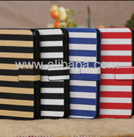 Dual Color Stripe Wallet Credit Card Flip Stand Leather Case Cover Skin Shell for iPhone 5C