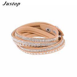 Gold PU leather cuff bracelet accessories for women beads jewelry