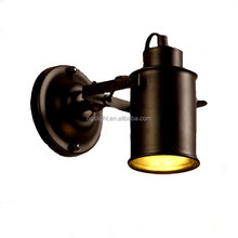 Modern Art Antique Industry Black Iron Finish Funnel Wall Lamp , Hotel Bedroom Housing Stairs E27 Edison Bulb Light Wall Scoces
